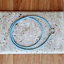 Pfeifenband mit Sterlingsilber geflochten Nappaleder hellblau